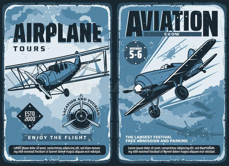 Vintage posters, custom planes aviation show stock illustration