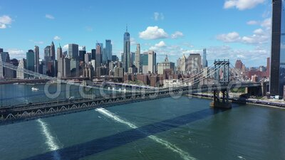 Manhattan skyline with bridges in New York city, NYC stock footage