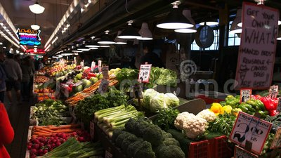 Fresh vegetable produce at pike place market stock footage