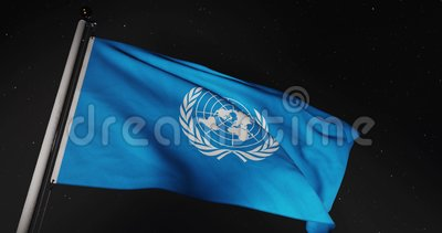 UN Organization Flag Waving Represents United Nations Council In New York - 4k 30fps Slow Motion Video stock video