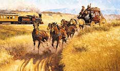 The stagecoach crossing mountain roads.